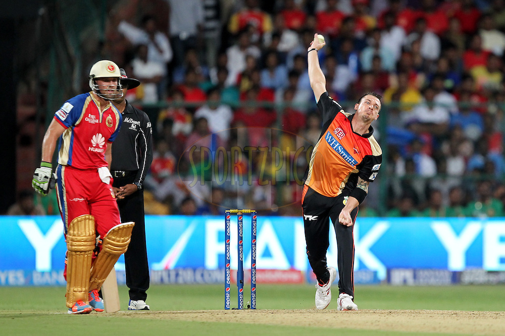 Dale Steyn of the Sunrisers Hyderabad bowls during match 24 of the Pepsi Indian Premier League Season 2014 between the Royal Challengers Bangalore and the Sunrisers Hyderabad held at the M. Chinnaswamy Stadium, Bangalore, India on the 4th May  2014Photo by Prashant Bhoot / IPL / SPORTZPICSImage use subject to terms and conditions which can be found here:  http://sportzpics.photoshelter.com/gallery/Pepsi-IPL-Image-terms-and-conditions/G00004VW1IVJ.gB0/C0000TScjhBM6ikg