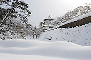 Photo shows Hirosaki Castle blanketed in snow in Hirosaki, Aomori Prefecture, in the Tohoku region of Japan on 18 Jan. 2013. Photo: Robert Gilhooly.