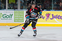 KELOWNA, CANADA - SEPTEMBER 28:   Colton Heffley #25 of the Kelowna Rockets skates on the ice against the Victoria Royals at the Kelowna Rockets on September 28, 2013 at Prospera Place in Kelowna, British Columbia, Canada (Photo by Marissa Baecker/Shoot the Breeze) *** Local Caption ***