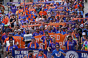 FC Cincinnati fans march into Nippert Stadium prior to the  MLS soccer game between FC Cincinnati and New England Revolution, Sunday, July 21, 2019, in Cincinnati, OH. The Revolution defeated FC Cincinnati 2-0.(Jason Whitman/Image of Sport)