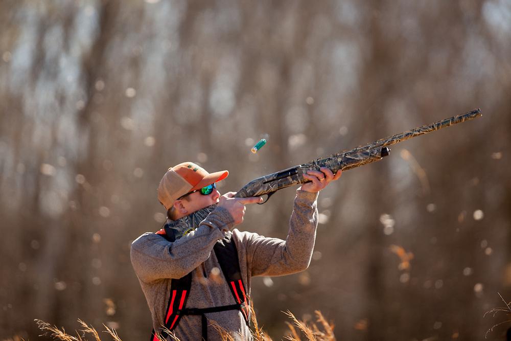 Hunter shoots at a covey of quail at Orapax Reserve in Goochland, VA.
