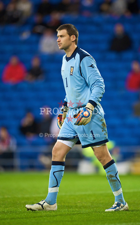 CARDIFF, WALES - Saturday, November 14, 2009: Scotland's goalkeeper David Marshall during the international friendly match against Wales at the Cardiff City Stadium. (Pic by David Rawcliffe/Propaganda)
