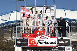 13.04.2013, Loule, POR, FIA WRC, Rallye Portugal, Podium, im Bild OGIER Sebastien/ INGRASSIA Julien ( VOLKSWAGEN MOTORSPORT (DEU)/ VOLKSWAGEN POLO R WRC ) feiern ihren Sieg auf dem Podium, links HIRVONEN Mikko / LEHTINEN Jarmo ( CITROEN TOTAL ABU DHABI WRT (FRA) / CITROEN DS3 ), rechts Jari Matti LATVALA / ANTTILA Miikka ( VOLKSWAGEN MOTORSPORT (DEU) / VOLKSWAGEN POLO R WRC ), Jubel, Freude, Emotionen,, celebrate on Podium // after the FIA WRC Rallye of Portugal, Loule, Portugal on 2013/04/13. EXPA Pictures © 2013, PhotoCredit: EXPA/ Eibner/ Alexander Neis..***** ATTENTION - OUT OF GER *****