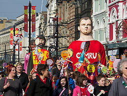 CARDIFF, WALES - Thursday, March 1, 2012: A float of a Welsh rugby player during 10th St. David's Day Parade through the streets of Cardiff. (Pic by David Rawcliffe/Propaganda)