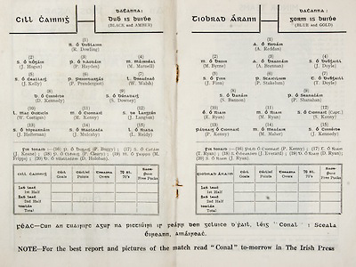 All Ireland Senior Hurling Championship Final,.Brochures,.03.09.1950, 09.03.1950, 3rd September 1950, .Tipperary 1-9, Kilkenny 1-8, .Minor Tipperary v Kilkenny,.Senior Tipperary v Kilkenny, .Croke Park, ..Kilkenny Senior Team, Ramie Dowling, Goalkeeper, Eire Og, Co Kilkenny, J. Hogan, Right corner-back, Tullaroan, Co Kilkenny, Pat Hayden, Full-back, Eire Og, Co Kilkenny, Mark Marnell, Left corner-back, Tullaroan, Co Kilkenny, Jimmy Kelly, Right half-back, Carrickshock, Co Kilkenny, Peter Prendergast, Centre half-back, Thomastown, Co Kilkenny, Willie Walsh, Left half-back, Carrickshock, Co Kilkenny, Dan Kennedy, Midfielder, Dicksboro, Co Kilkenny, Shem Downey, Midfielder, Tullaroan, Co Kilkenny, Willie Costigan, Right half-forward, Tullaroan, Co Kilkenny, Mick Kenny, Captain, Centre half-forward, Graigue, Co Kilkenny, Jim Langton, Left half-forward, Eire Og, Co Kilkenny, Jimmy Heffernan, Right corner-forward, Carrickshock, Co Kilkenny, J. Mulcahy, Centre forward, Eire Og, Co Kilkenny, Liam Reidy, Left corner-forward, Eire Og, Co Kilkenny, Substitutes, J. Keane, Graigue, Co Kilkenny, Paddy Buggy, Slieverue, Co Kilkenny, Dan Holohan, Graigue, Co Kilkenny, P. Cleary, Mooncoin, Co Kilkenny, Tom Walton, Tullaroan, Co Kilkenny, Mick Fripps, Mooncoin, Co Killkenny, ..Tipperary Senior Team, Tony Reddan, Goalkeeper, Lorrha, Co Tipperary, Michael Byrne, Right corner-back, Thurles Sarsfields, Co Tipperary, Tony Brennan, Full-back, Clonoulty, Co Tipperary, John Doyle, Left corner-back, Holycross, Co Tipperary, Seamus Finn, Right half-back, Pat Stakelum, Centre half-back, Young Irelands, Co Dublin, Tommy Doyle, Left half-back, Thurles Sarsfields, Co Tipperary, Seamus Bannon, Midfielder, Young Irelands, Co Dublin, Phil Shanahan, Midfielder, Young Irelands, Co Dublin, Ed Ryan, Right half-forward,  Borris-I-Leigh, Co Tipperary, Mick Ryan, Centre half-forward, Dicksboro, Kilkenny, Sean Kenny, Left half-forward, Borris-I-Leigh, Co Tipperary, Paddy Kenny, Right corner-forward, Borris-I