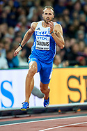 Great Britain, London - 2017 August 09: Likourgos-Stefanos Tsakonas from Greece competes in men's 200 meters semi final during IAAF World Championships London 2017 Day 6 at London Stadium on August 09, 2017 in London, Great Britain.<br /> <br /> Mandatory credit:<br /> Photo by © Adam Nurkiewicz<br /> <br /> Adam Nurkiewicz declares that he has no rights to the image of people at the photographs of his authorship.<br /> <br /> Picture also available in RAW (NEF) or TIFF format on special request.<br /> <br /> Any editorial, commercial or promotional use requires written permission from the author of image.