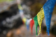 Prayer plags hanging at the base camp of Annapurna Sanctuary, Nepal