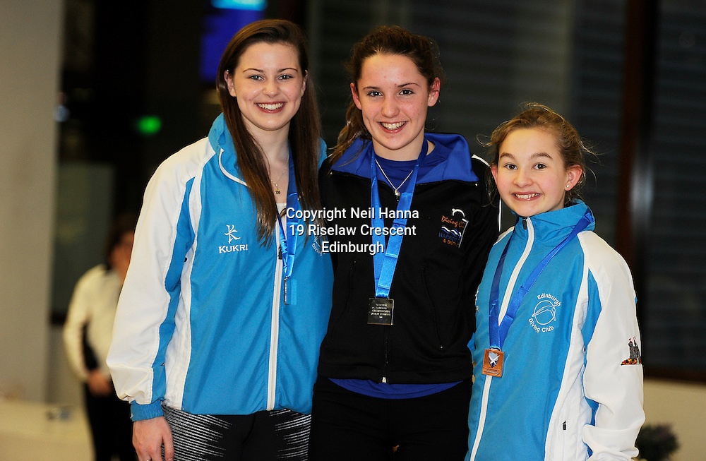 Scottish National Diving Championships &amp; Thistle Trophy 2015<br /> Royal Commonwealth Pool, Edinburgh<br /> <br /> Junior National<br /> Amber Foster EDC, Isla Coyle of Harrogate DC and Caitlyn Lumsden of EDC<br /> <br />  Neil Hanna Photography<br /> www.neilhannaphotography.co.uk<br /> 07702 246823