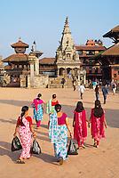 Nepal. Vallee de Kathmandu. Ville Newar de Bhaktapur. Durbar Square. // Nepal. Kathmandu valley. Newar city of Bhaktapur. Durbar Square.