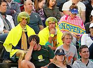 Australian Open 2011, Melbourne Park,ITF Grand Slam Tennis Tournament . zwei australische Tennisfans in ausgefallenener Bekleidung, Kurios,Humor,