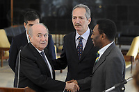 20120317: BRASILIA, BRAZIL – FIFA President Joseph Blatter, visit to Brazil to discuss 2014 World Cup. In picture Sepp Blatter with Sports Minister Aldo Rebelo and football legends Ronaldo Nazario and Pele meeting with President Dilma Rousseff at Planalto Palace<br /> PHOTO: CITYFILES