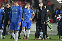 February 14, 2019 - Prague, CZECH REPUBLIC - Genk's Sebastien Dewaest and Genk's head coach Philippe Clement pictured after a soccer game between Czech club SK Slavia Praha and Belgian team KRC Genk, the first leg of the 1/16 finals (round of 32) in the Europa League competition, Thursday 14 February 2019 in Prague, Czech Republic. BELGA PHOTO YORICK JANSENS (Credit Image: © Yorick Jansens/Belga via ZUMA Press)