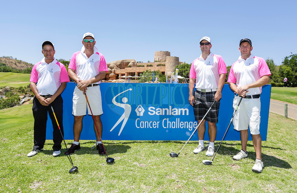Jan Wessels, Derick Heyn, Vaughan Wandrag and Lombard Koch during round one of the Sanlam Cancer Challenge Finals 2014 held at the Lost City Golf Course in Sun City near Johannesburg, South Africa on the 19th October 2014<br /> <br /> Photo by:  Dominic Barnardt/ SPORTZPICS