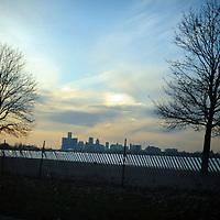 Detroit skyline seen from Belle Isle in Detroit, Michigan