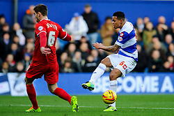 QPR Midfielder Jermaine Jenas (ENG) scuffs a shot as Charlton Defender Dorian Dervite (FRA) defends during the first half of the match - Photo mandatory by-line: Rogan Thomson/JMP - Tel: 07966 386802 - 23/11/2013 - SPORT - Football - London - Loftus Road - QPR v Charlton Athletic - Sky Bet Championship