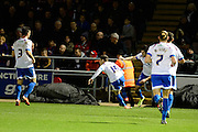 Portsmouth goalscorer Conor chaplin wheels away in celebration  during the Sky Bet League 2 match between Northampton Town and Portsmouth at Sixfields Stadium, Northampton, England on 19 December 2015. Photo by Dennis Goodwin.