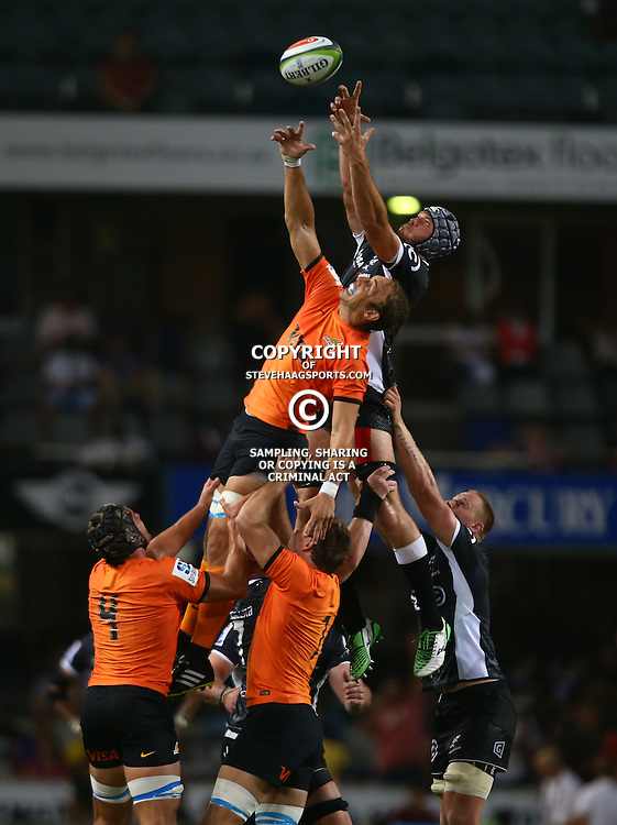 DURBAN, SOUTH AFRICA - MARCH 05:  Stephan Lewies of the Cell C Sharks out jumps Leonardo Senatore of the Jaguares during the 2016 Super Rugby match between Cell C Sharks and Jaguares at Growthpoint Kings Park Stadium on March 05, 2016 in Durban, South Africa. (Photo by Steve Haag/Gallo Images)