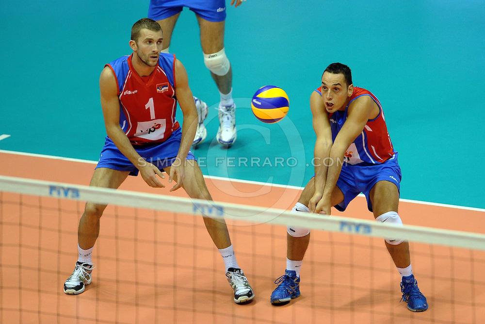 Trieste, 26/09 /2010..FIVB 2010 Men's World Championship.Canada vs Serbia.Gruppo F - 2 turno.Nella foto: Kovacevic Nikola e Samardzic Marko.Foto di Simone Ferraro
