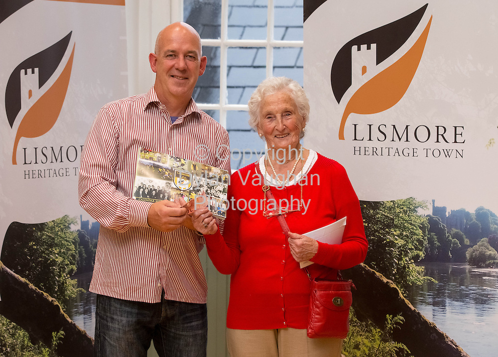 No Charge for repro<br /> <br /> 15/8/2013<br /> Chairman Aidan O&rsquo;Shea and Mai Lawton, purchasing the first Lismore A.F.C Calendar pictured at the launch of the Lismore A.F.C. calendar and new logo incorporating the Brand Lismore symbol.<br /> <br /> Picture Dylan Vaughan.