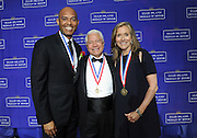 Honorees Mariano Rivera, left, New York Yankees legend, and Meredith Vieira, journalist, pose with NECO chairman Nasser J. Kazeminy, center, at the National Ethnic Coalition of Organizations' 2015 Ellis Island Medal of Honor awards ceremony on Ellis Island, Saturday, May 9, 2015.  Rivera and Vieira were among 101 recipients honored.  NECO's mission is to honor and preserve the diversity of the American people and to foster tolerance, respect and understanding among religious and ethnic groups. (Photo by Diane Bondareff/Invision for NECO/AP Images)