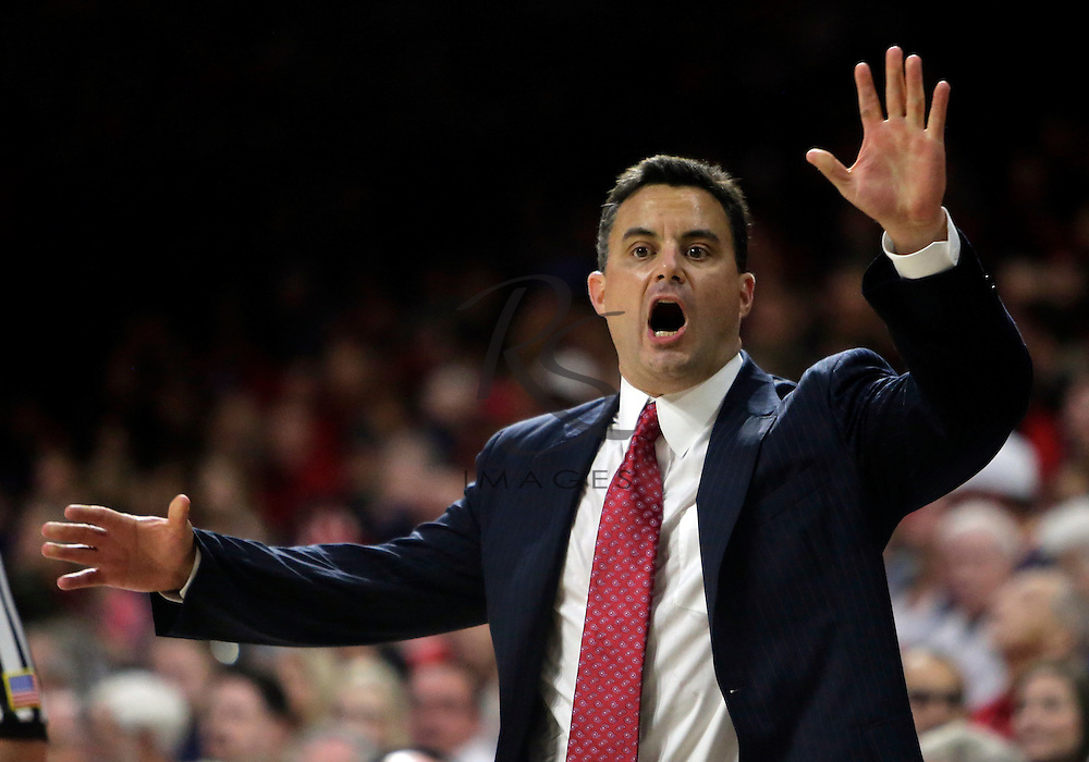 Arizona head coach Sean Miller reacts to a foul call against Northern Colorado during the first half of an NCAA college basketball game, Monday, Nov. 21, 2016, in Tucson, Ariz. (AP Photo/Rick Scuteri)