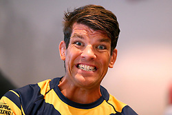 Donnacha O'Callaghan of Worcester Warriors pulls a cheesy grin while being interviewed at the Aviva Premiership Rugby 2017/18 season launch - Mandatory by-line: Robbie Stephenson/JMP - 24/08/2017 - RUGBY - Twickenham - London, England - Premiership Rugby Launch