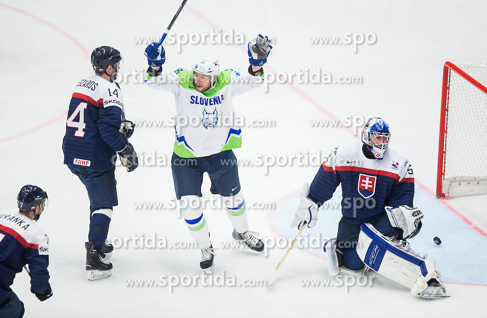 Jan Urbas of Slovenia celebrates after Slovenia scoring first goal against Jan Laco of Slovakia during Ice Hockey match between Slovakia and Slovenia at Day 5 in Group B of 2015 IIHF World Championship, on May 5, 2015 in CEZ Arena, Ostrava, Czech Republic. Photo by Vid Ponikvar / Sportida
