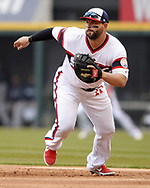 CHICAGO - APRIL 07:  Yonder Alonso #17 of the Chicago White Sox fields against the Seattle Mariners on April 7, 2019 at Guaranteed Rate Field in Chicago, Illinois.  (Photo by Ron Vesely)  Subject:  Yonder Alonso