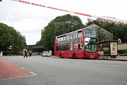 © Licensed to London News Pictures. 11/08/2019. London, UK. A crime scene on the Seven Sisters Road junction with St Ann's Road in Tottenham, north London, where a 25 year old man was found with multiple stab wounds on Bus 67 at the Seven Sister Road/Kerswell Close bus stop, just before 2.20pm. According to the Met police, the victim is fighting for his life in hospital. Photo credit: Dinendra Haria/LNP