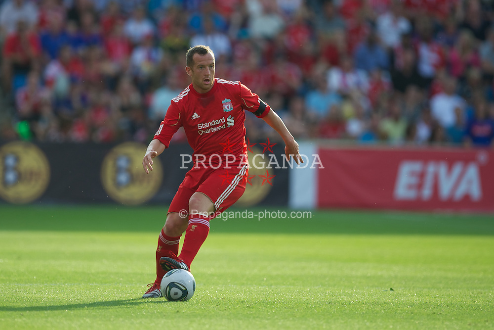 OSLO, NORWAY - Monday, August 1, 2011: Liverpool's Charlie Adam in action against Valerenga during a preseason friendly match at the Ulleval Stadion. (Photo by David Rawcliffe/Propaganda)