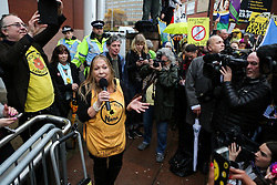© Licensed to London News Pictures. 09/12/2016. Preston, UK. Tina Rothery is addresses supporters and anti fracking protesters at Preston Combined Court  where today she is due for sentencing after being found guilty of contempt of court. Prominent anti-fracking campaigner, Tina Rothery, refused to pay legal fees amounting to more than £55,000 in a dispute with the shale gas company, Cuadrilla. In August 2014, Cuadrilla took legal action to evict anti-fracking campaigners camping in a field near Blackpool that was being considered for shale gas exploration. Photo credit : Ian Hinchliffe/LNP