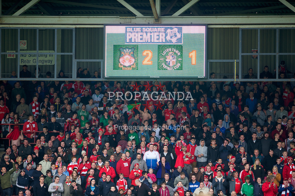 WREXHAM, WALES - Monday, May 7, 2012: Wrexham supporters watch their side beat Luton Town 2-1, but it was not enough to overturn a 1st leg 2-0 deficit during the Football Conference Premier Division Promotion Play-Off 2nd Leg at the Racecourse Ground. (Pic by David Rawcliffe/Propaganda)