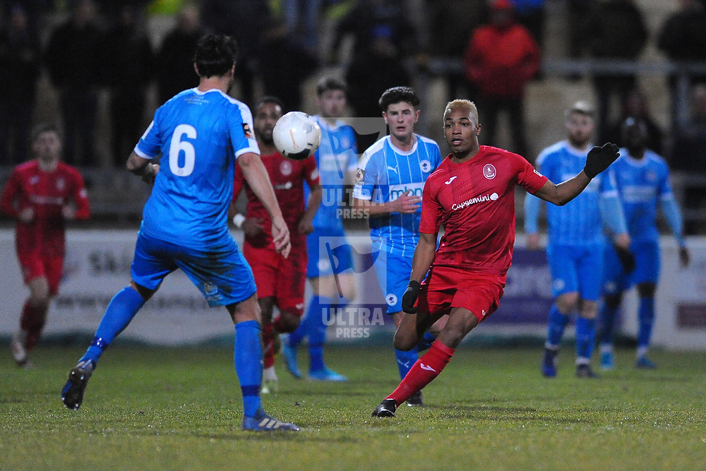 TELFORD COPYRIGHT MIKE SHERIDAN Marcus Dinanga of Telford closes down Simon Grand (formerly of AFC Telford) during the Vanarama Conference North fixture between AFC Telford United and Chester at the 1885 Arena Deva Stadium on Saturday, December 21, 2019.<br /> <br /> Picture credit: Mike Sheridan/Ultrapress<br /> <br /> MS201920-035