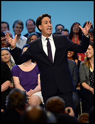 Labour leader Ed Miliband   delivering his Keynote speech to the Labour Party Conference delegates at the Brighton Conference Centre, Brighton, United Kingdom. Tuesday, 24th September 2013. Picture by Andrew Parsons / i-Images