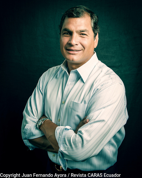 President of Ecuador Rafael Correa, photographed in Quito by Juan Fernando Ayora for Revista CARAS Ecuador.