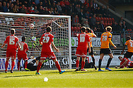 Aaron McLean of Bradford City (right) scores the opening goal during the Sky Bet League 1 match at the Matchroom Stadium, London<br /> Picture by David Horn/Focus Images Ltd +44 7545 970036<br /> 29/03/2014