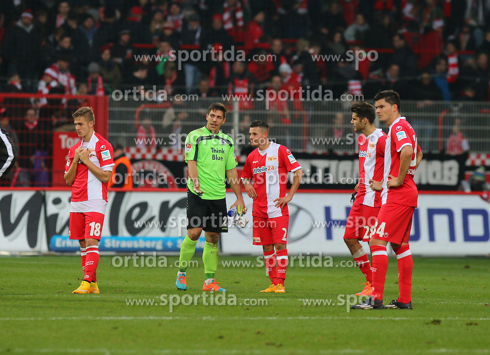 22.11.2014, Alte F&ouml;rsterei, Berlin, GER, 2. FBL, 1. FC Union Berlin vs TSV 1860 Muenchen, 14. Runde, im Bild Fassungslosigkeit bei den Spielern vom 1. FC Union Berlin // SPO during the 2nd German Bundesliga 14th round match between 1. FC Union Berlin and TSV 1860 Muenchen at the Alte F&ouml;rsterei in Berlin, Germany on 2014/11/22. EXPA Pictures &copy; 2014, PhotoCredit: EXPA/ Eibner-Pressefoto/ Hundt<br /> <br /> *****ATTENTION - OUT of GER*****