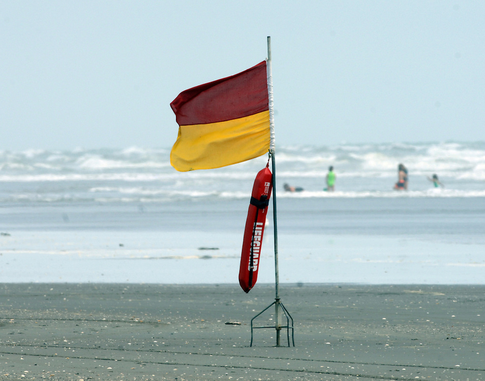 Surf Lifesaving flag, beach, Waitarere, New Zealand, January 15, 2007. Credit:SNPA / Ross Setford