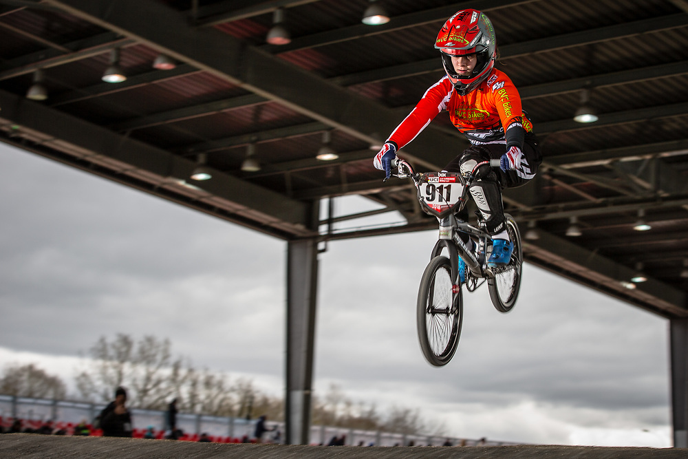 #911 (SHRIEVER Bethany) GBR at the 2018 UCI BMX Superscross World Cup in Saint-Quentin-En-Yvelines, France.