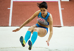 Anna Venhrus of Ukraine competes in the Long Jump Women Qualification on day two of the 2017 European Athletics Indoor Championships at the Kombank Arena on March 4, 2017 in Belgrade, Serbia. Photo by Vid Ponikvar / Sportida