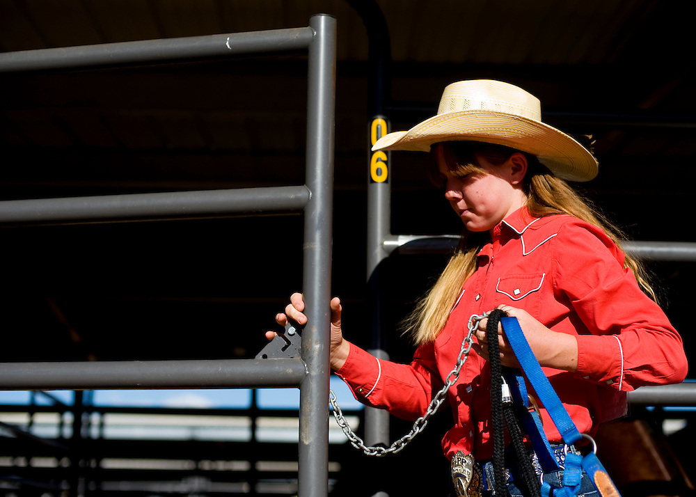 062909      Brian Leddy.Chelsey Bushnell readies for the evenings competition at Red Rock State Park on Monday. Thousands of junior high rodeo contestants descended upon Gallup this week for the Wrangler Junior High Rodeo.