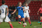 Gaetane Thiney (France) tries to react to a shot that has been cleared by the England defence during the International Friendly match between England Women and France Women at the Keepmoat Stadium, Doncaster, England on 21 October 2016. Photo by Mark P Doherty.