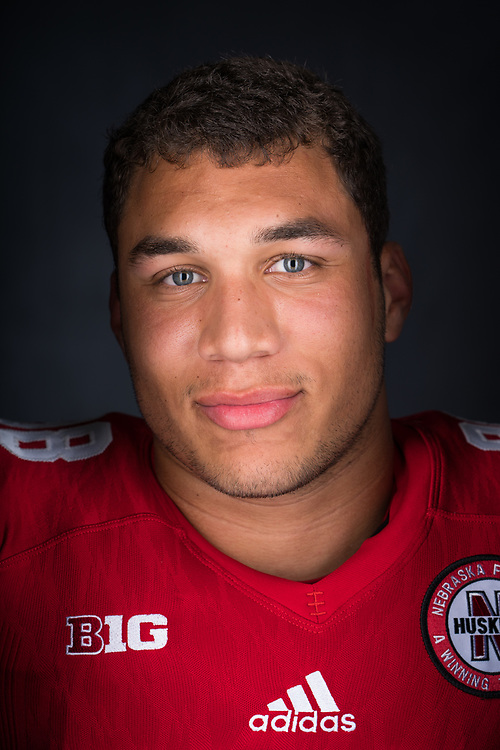COLLIN MILLER #98 during a portrait session at Memorial Stadium in Lincoln, Neb. on June 7, 2017. Photo by Paul Bellinger, Hail Varsity