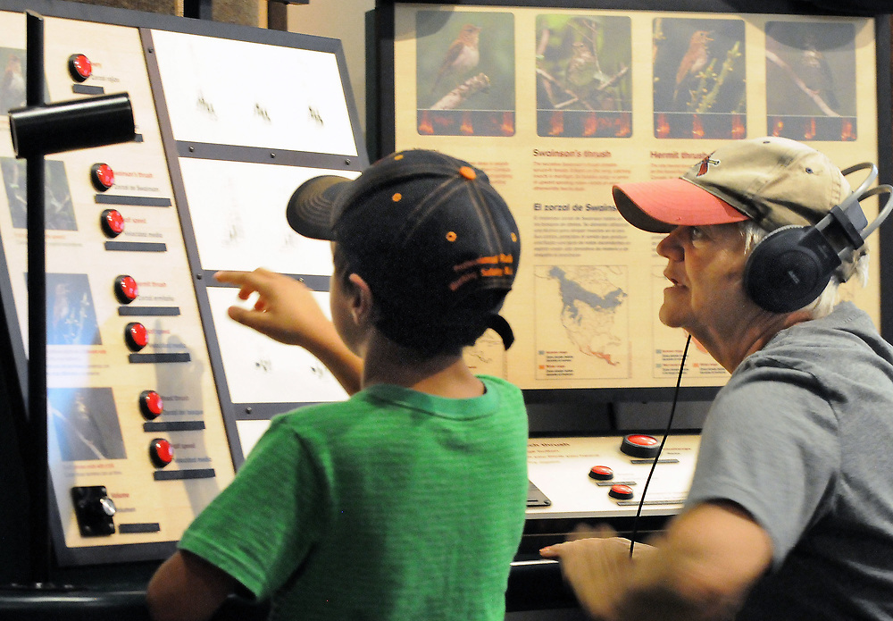 jt062717d/arts/jim thompson/ Owen Middagh-5 prepares to push a button so his Great Aunt Marie Middagh  can listen to a bird call at one of the exhibits of the Wild Music: Sounds and Songs of Life Exhibit at the New Mexico Museum of Natural History and Science.Tuesday June. 27, 2017. (Jim Thompson/Albuquerque Journal)
