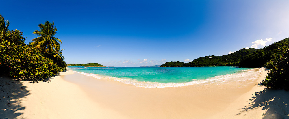 Hawksnest Bay on St. John in the US Virgin Islands. High resolution panorama.