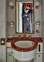 Mirror selfie in my new home -- Deck 8 cabin on the MV World Odyssey. Prior to departure from Ensenada, Mexico.  Image taken with a Nikon N1 V3 camera and 10-30 mm lens (ISO 800, 10 mm, f/3.5, 1/25 sec).