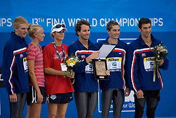 David Walters , Aaron Peirsol, Eric Shanteau and Michael Phelps of the United States receive an award as best team after the 13th FINA World Championships Roma 2009, on August 2, 2009, at the Stadio del Nuoto,  in Foro Italico, Rome, Italy. (Photo by Vid Ponikvar / Sportida)