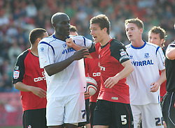 BOURNEMOUTH, ENGLAND - Saturday, April 9, 2011: Tempers fly between both Tranmere Rovers and Bournemouth players during the Football League One match at the Dean Court Stadium. (Photo by Gareth Davies/Propaganda)