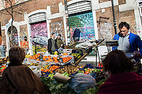 ROME, ITALY - 7 January 2014: in Via del Pigneto, a two block-long pedestrian zone in the Pigneto neighborhood of Rome, Italy, on February 7th 2014.
