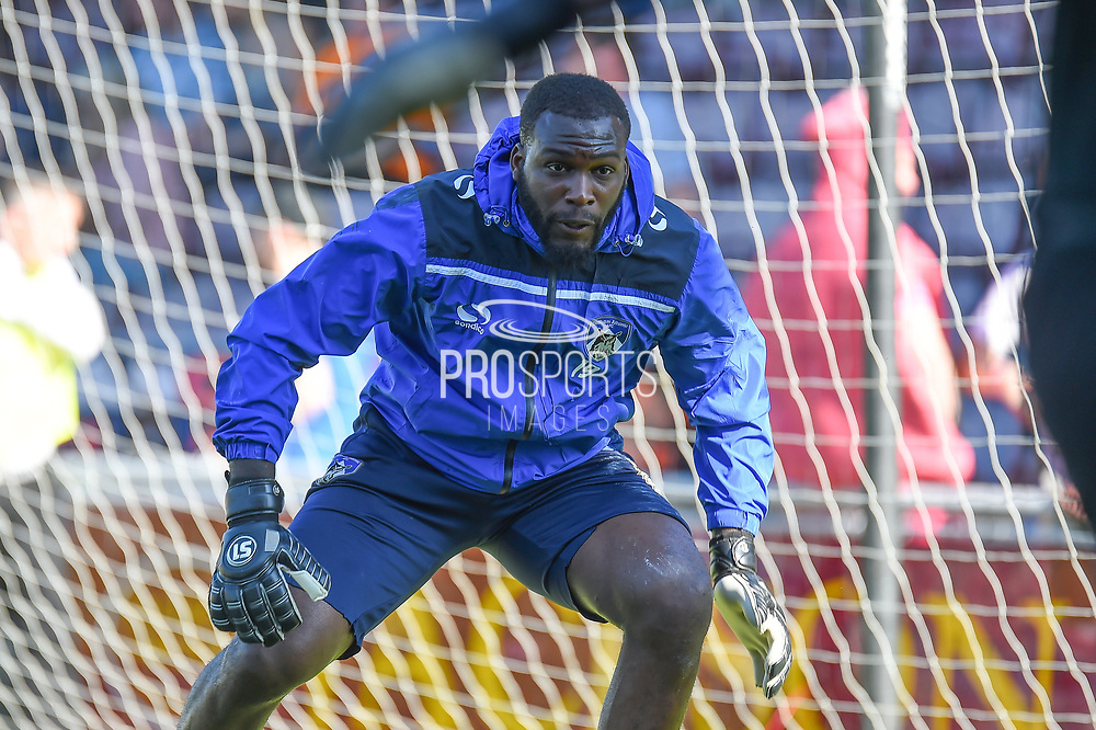 Oldham Athletic goalkeeper Johny Placide (19) during the EFL Sky Bet League 1 match between Northampton Town and Oldham Athletic at Sixfields Stadium, Northampton, England on 5 May 2018. Picture by Dennis Goodwin.